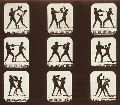 Consecutive Images Of Two Men Boxing Art Print by Everett