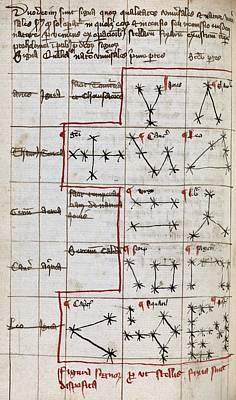 Constellations, 14th Century Manuscript Print by Middle Temple Library