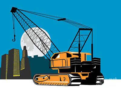 Heavy Equipment Digital Art - Construction Crane Hoist Retro by Aloysius Patrimonio