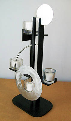 Sculpture - Constructivist Candle Holder Model B V2 by John Gibbs