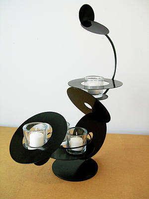 Sculpture - Constructivist Candle Holder Model C V3 by John Gibbs