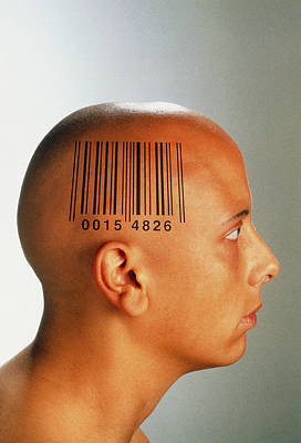 Consumer Society: Bar Code Printed On Woman's Head Art Print