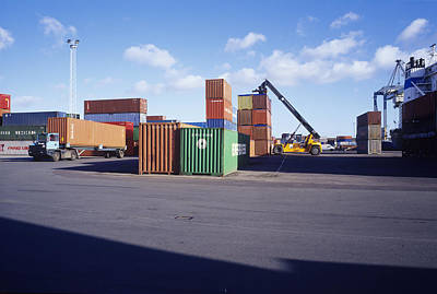 Container Port Art Print by Carlos Dominguez