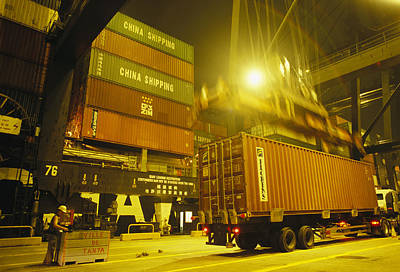 Importers And Importing Photograph - Containers Loaded Onto A Ship by Justin Guariglia
