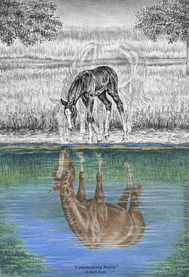 Drawing - Contemplating Reality - Mare And Foal Horse Print by Kelli Swan