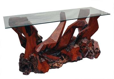 Sculpture - Contemporary Redwood Glass Top Console Table Ds-19611 by Daryl Stokes