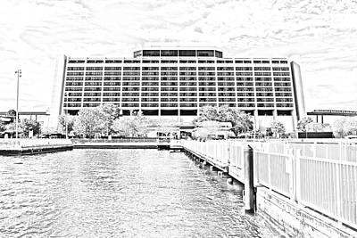 Digital Art - Contemporary Resort Profile Walt Disney World Prints Black And White Line Art by Shawn O'Brien