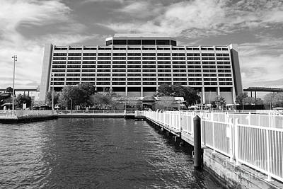 Photograph - Contemporary Resort Profile Walt Disney World Prints Black And White by Shawn O'Brien