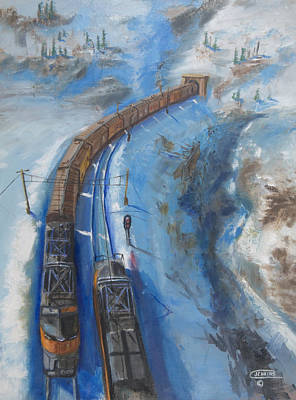 Trains Painting - Continetal  Divide by Christopher Jenkins