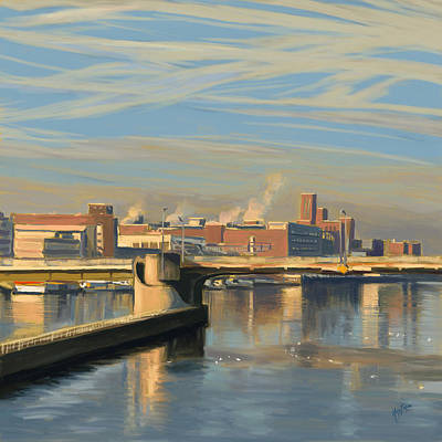 River Painting - Contrails Over The Wilhelmina Bridge Maastricht by Nop Briex