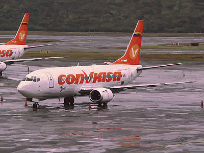 Briex Painting - Conviasa At A Rainy Caracas Airport by Nop Briex