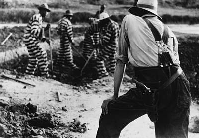 Convict Chain Gang And Prison Guard Art Print by Everett