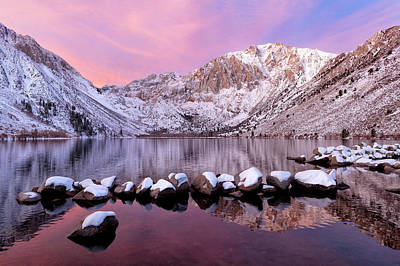 Convict Lake Sunrise With Fresh Snow Art Print by Justin Reznick Photography