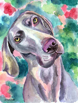 Watercolor Pet Portraits Wall Art - Painting - Cookie - Weimaraner Dog by Lyn Cook