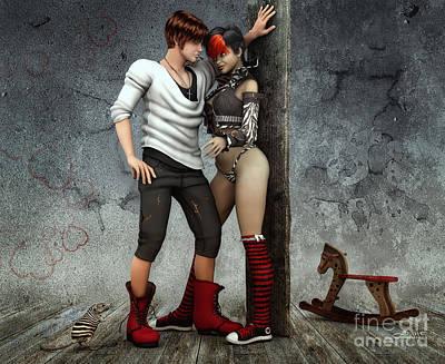 Digital Art - Cool And Striped Together by Jutta Maria Pusl