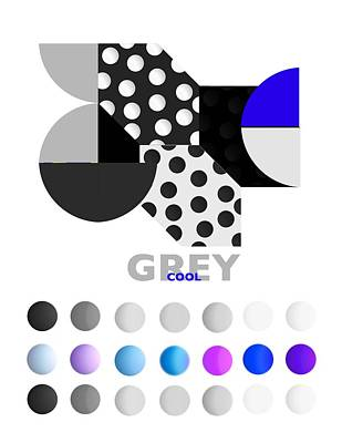 Geometric Painting - Cool Grey by Charles Stuart