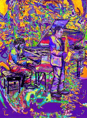Saxaphones Digital Art - Cool Jazz Sounds by Robin Jensen