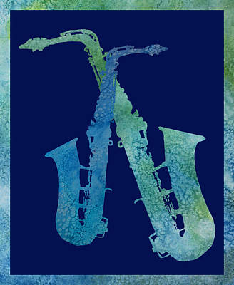 Jazz Digital Art - Cool Jazzy Duet by Jenny Armitage