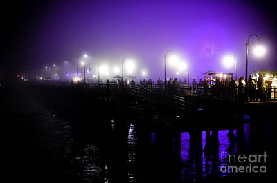 Cool Night At Santa Monica Pier Art Print