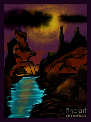 Digital Art - Cool Water Canyon by J Kinion