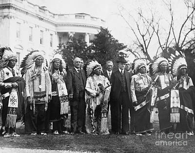 Whitehouse Photograph - Coolidge With Native Americans by Photo Researchers