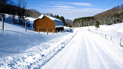 Barns In Snow Photograph - Coon Creek Road And Snow by Thomas R Fletcher