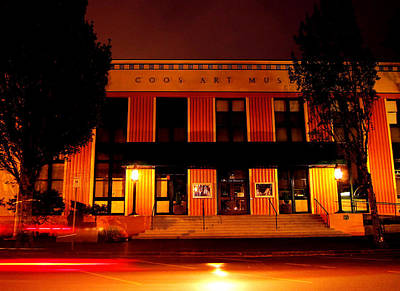 Coos Art Museum At Night In Coos Bay Art Print by Gary Rifkin
