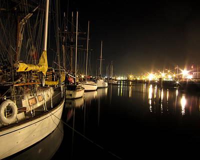 Coos Bay Sailboats At Night Art Print by Gary Rifkin