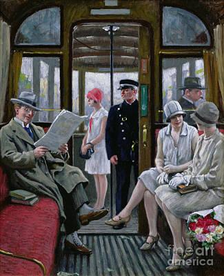 Cloche Painting - Copenhagen Tram by Paul Fischer
