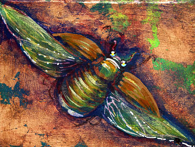 Mixed Media - Copper Beetle by Ashley Kujan
