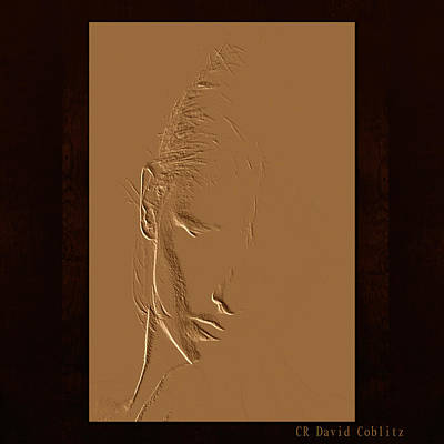 Embossed Copper Photograph - Copper Kammie Square by David Coblitz