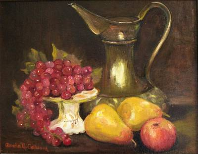 Copper Pitcher With Fruit Original by Aurelia Nieves-Callwood