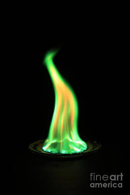 Flame Test Photograph - Copperii Chloride Flame Test by Ted Kinsman