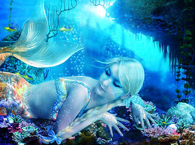 Mermaid Digital Art - Coral Dreams by Mary Hood
