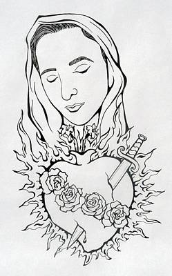 Corazon Inmaculado  Immaculate Heart Art Print by E White