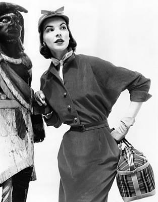 1950s Fashion Photograph - Corduroy Shirtdress With Dolman by Everett