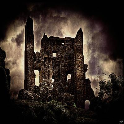 Dark Cloud Digital Art - Corfe Castle Keep by Chris Lord