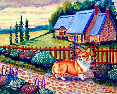 Cobblestone Painting - Corgi Cottage Home Fires by Lyn Cook
