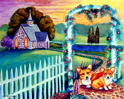 Cobblestone Painting - Corgi Cottage Sunday by Lyn Cook