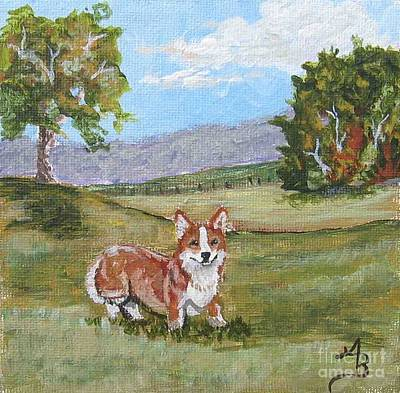 Painting - Corgi In Pasture I by Ann Becker