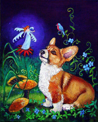 Faery Painting - Corgi Magic - Pembroke Welsh Corgi by Lyn Cook