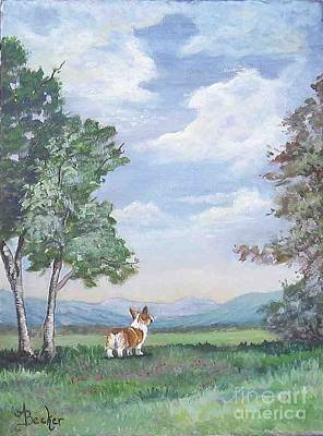 Painting - Corgi Mountain View by Ann Becker