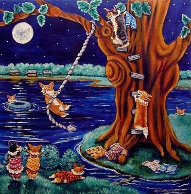 Skinny Dipping Painting - Corgi Skinny Dipping - Pembroke Welsh Corgi by Lyn Cook
