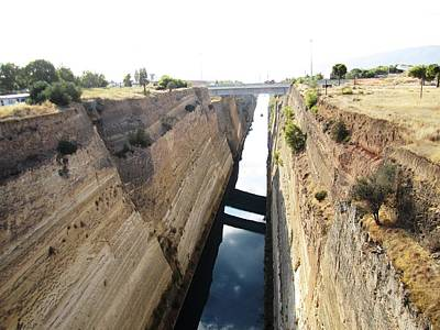 Photograph - Corinth Canal Sky Reflection In Water In Greece by John Shiron