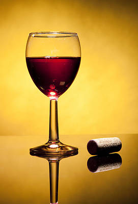 Cork And Glass Of Stained Wine Original by Jesus Cervantes