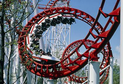 Corkscrew Coil On A Rollercoaster Ride Art Print by Kaj R. Svensson