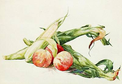 Corn Painting - Corn And Peaches by Pg Reproductions