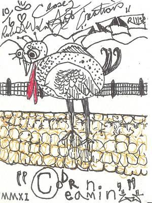 Fence Drawing - Corn Dreamin' by Robert Wolverton Jr