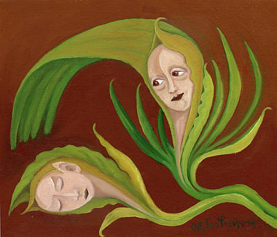 Painting - Corn Love Fantastic Realism Faces In Green Corn Leaves Sleeping Or Dead Loving Or Mourning Gree by Rachel Hershkovitz