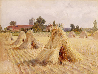 Nature Scene Painting - Corn Stooks By Bray Church by Heywood Hardy